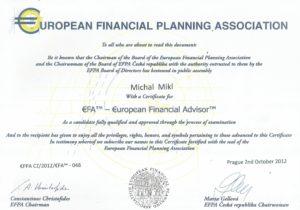 EFPA Certifikát