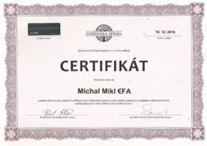 Svěřenský správce - certifikát